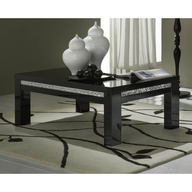 Table Basse Rectangulaire Design Laquee Noire Melvine Matelpro