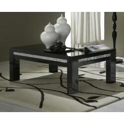 Table basse carrée design laquée noire Melvine
