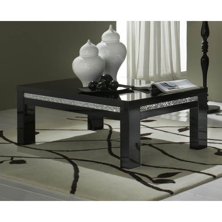 Table Noire Basse Melvine Carrée Design Laquée YbD2IH9eWE