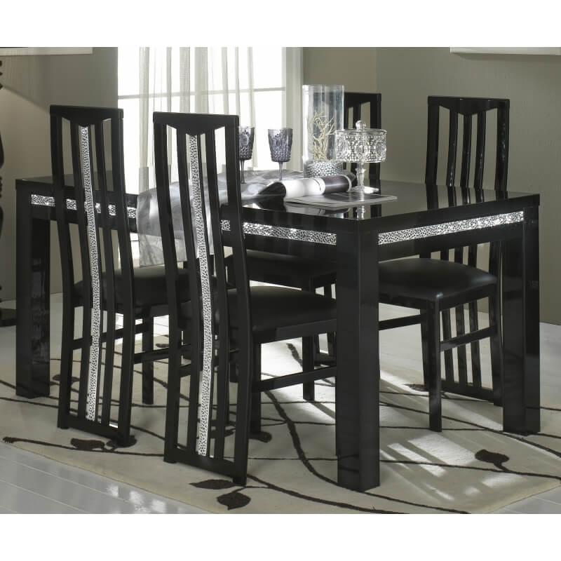 table de salle manger design laqu e noire melvine matelpro. Black Bedroom Furniture Sets. Home Design Ideas