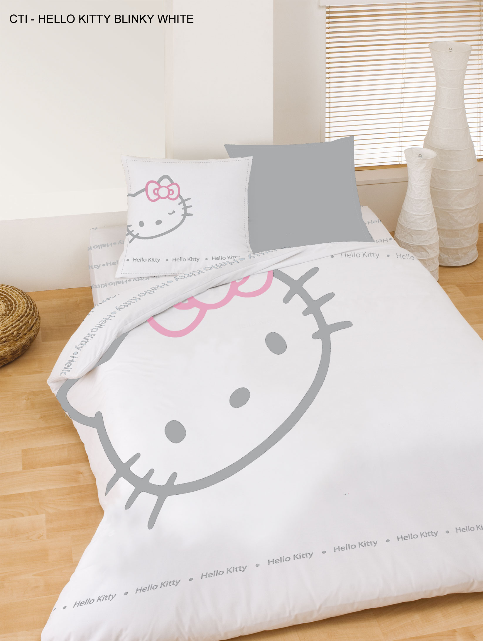 Drap housse HELLO KITTY BLINKY BLANC