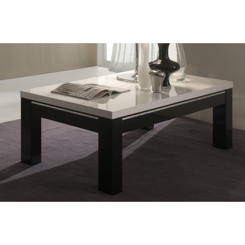table basse rectangulaire design laqu e blanche et noire darma. Black Bedroom Furniture Sets. Home Design Ideas