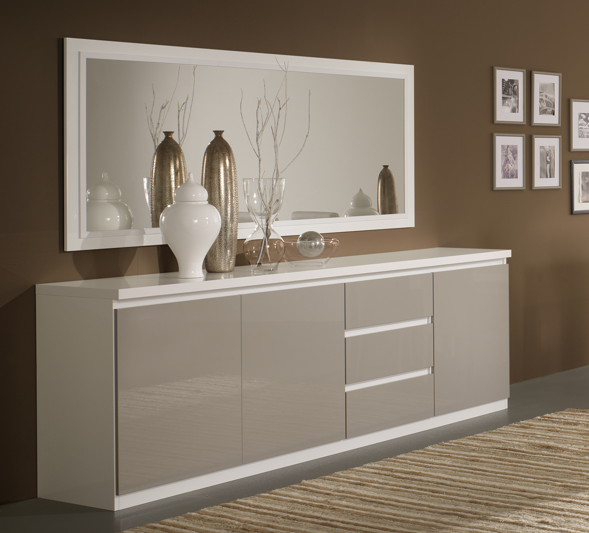 Buffet Bahut Design 3 Portes 3 Tiroirs Laque Gris Blanc Jewel