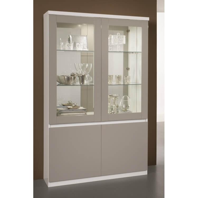 Vitrine design 2 portes laquée blanche et grise Jewel