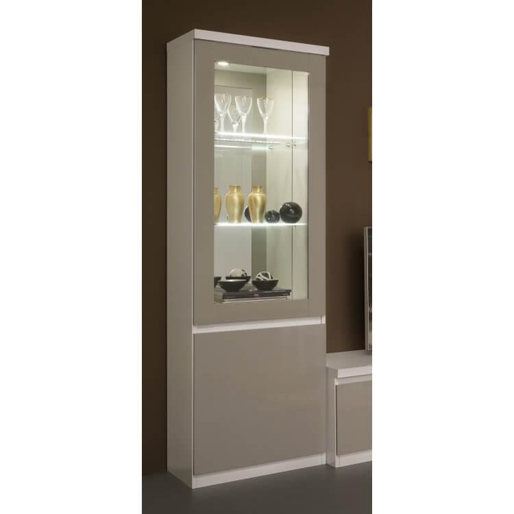 Vitrine design 1 porte1 laquée blanche et gris Jewel