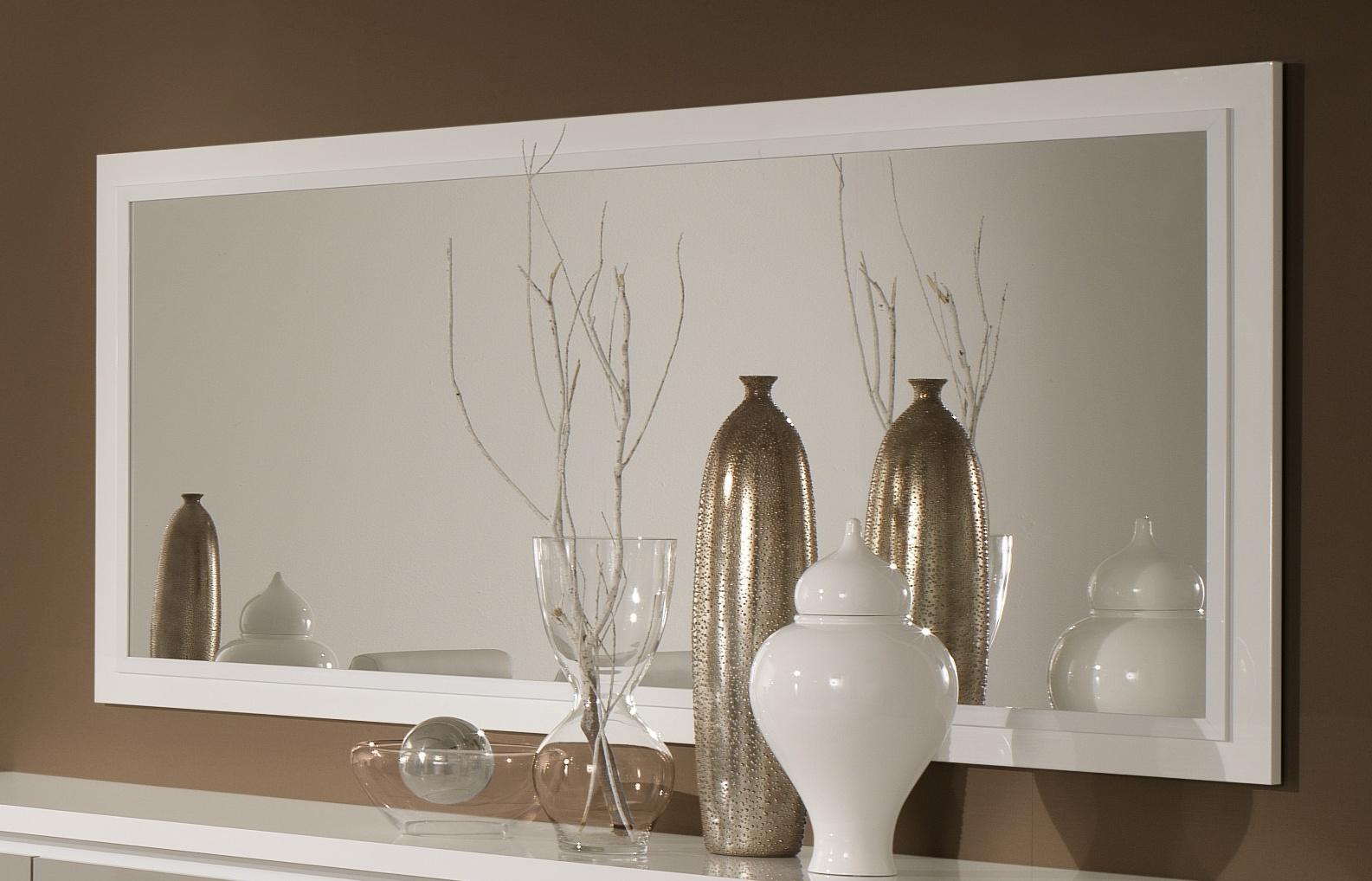 Miroir de salle à manger design 140 cm laqué blanc Jewel