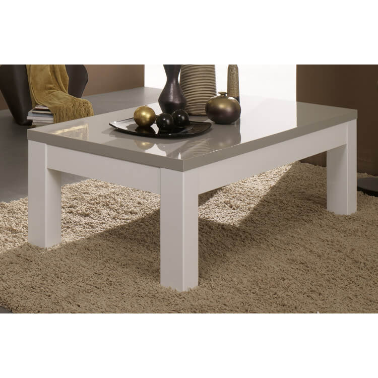 Table basse rectangulaire design laquée blanche et grise Jewel