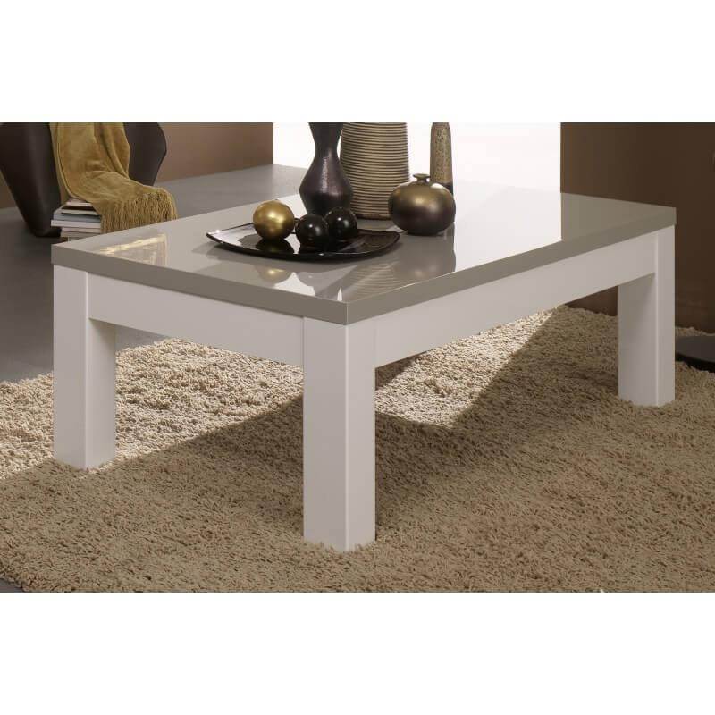 table basse rectangulaire design laqu e blanche et grise. Black Bedroom Furniture Sets. Home Design Ideas