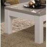 Table basse carrée design laquée blanche et grise Jewel