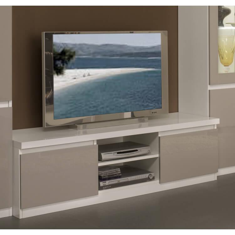 meuble tv design laqu blanc gris jewel matelpro. Black Bedroom Furniture Sets. Home Design Ideas