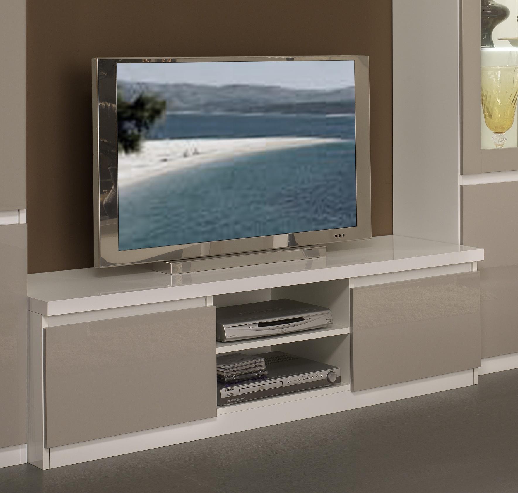 Meuble TV design laqué blanc/gris Jewel