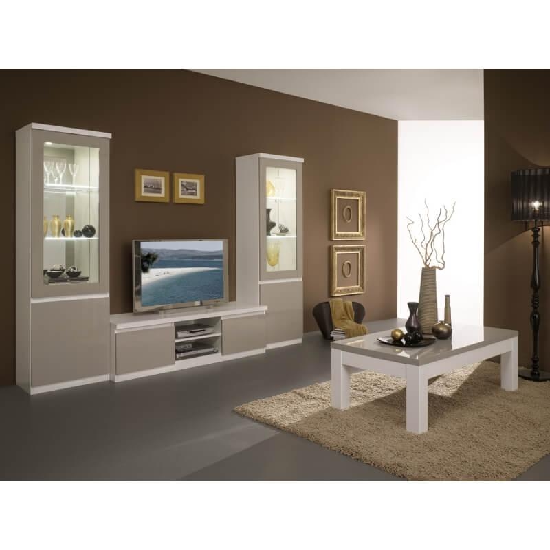 Meuble tv design laqu blanc gris jewel matelpro - Meuble tv design laque ...