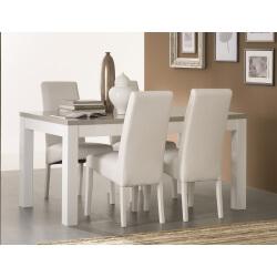 Table de salle à manger design laquée blanche et grise Jewel