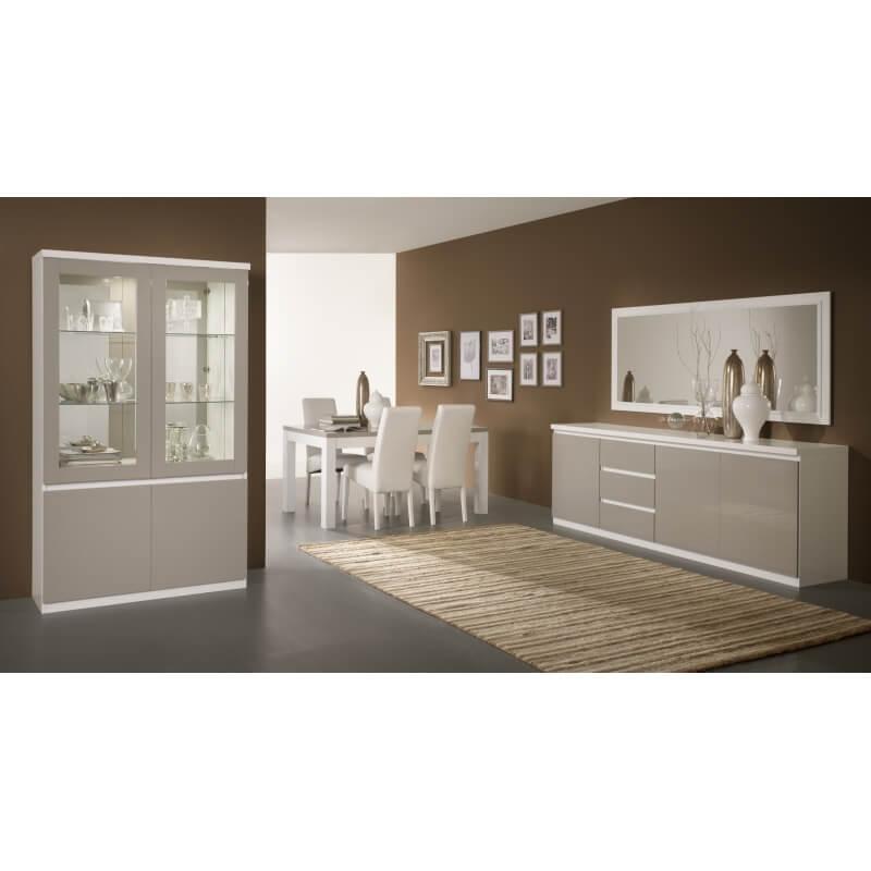 Table de salle manger design laqu e blanche et grise jewel matelpro for Salle a manger grise