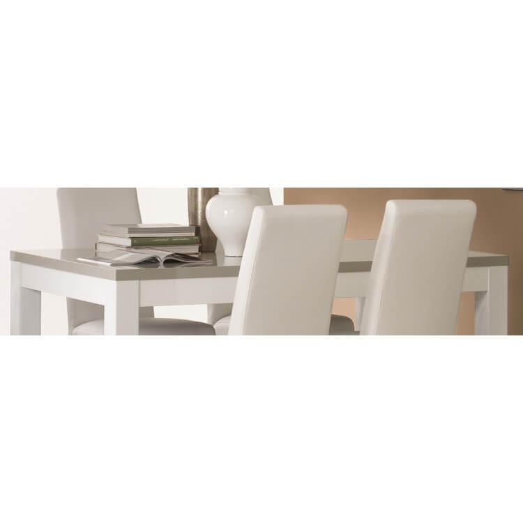 Table de salle manger design laqu e blanche et grise for Salle a manger design blanche