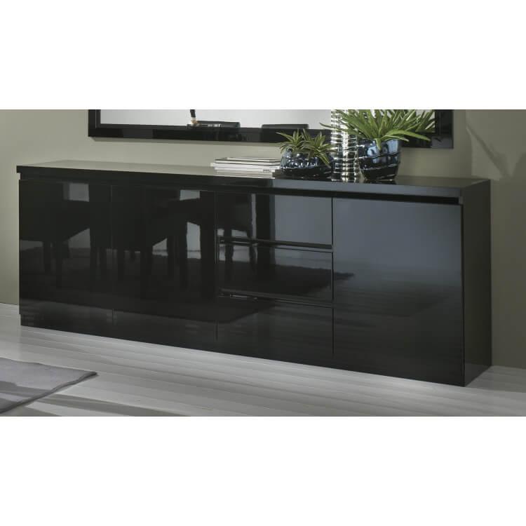 Buffet/bahut design 3 portes/3 tiroirs laqué noir Solene | Matelpro