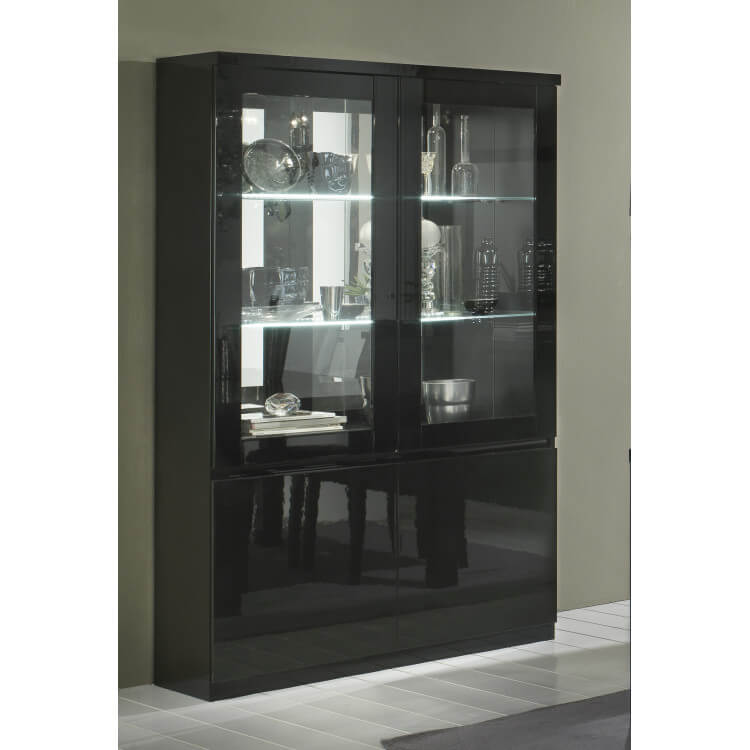Vitrine design 2 portes laquée noire Solene