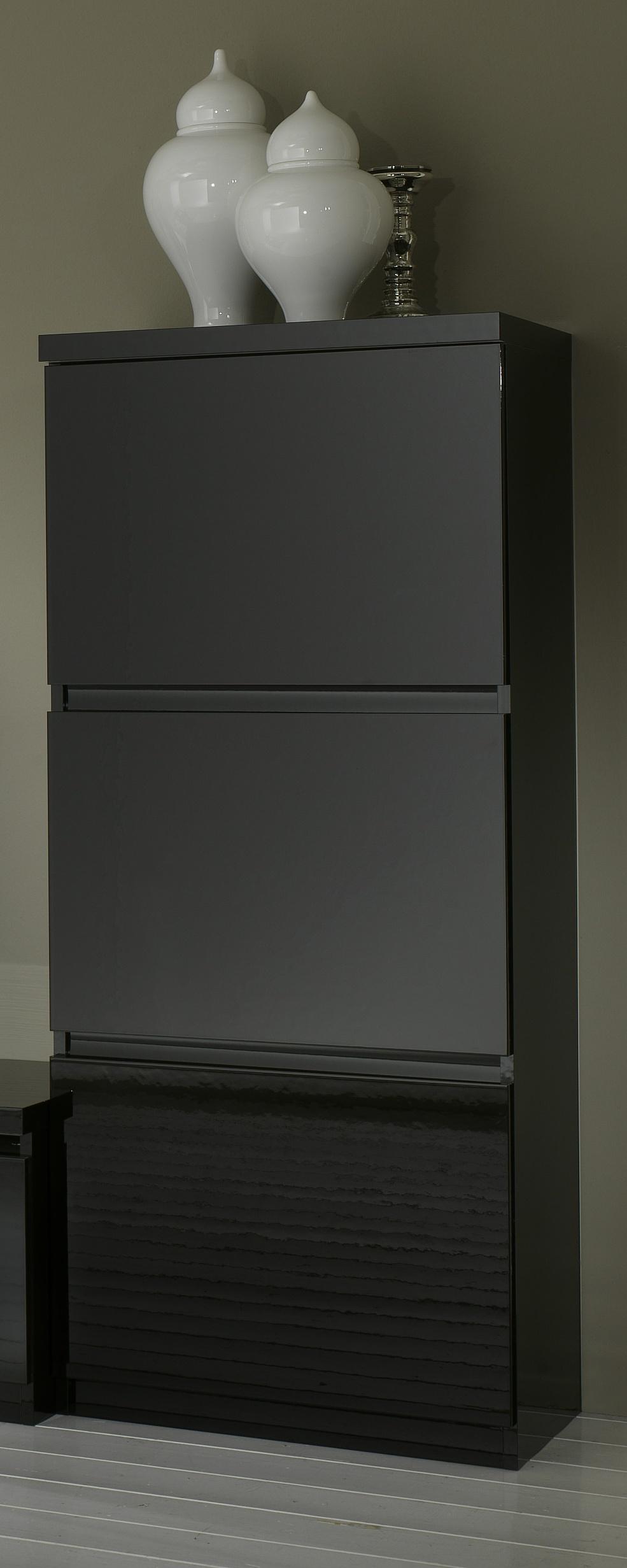 Colonne design 1 porte laquée noire Solene