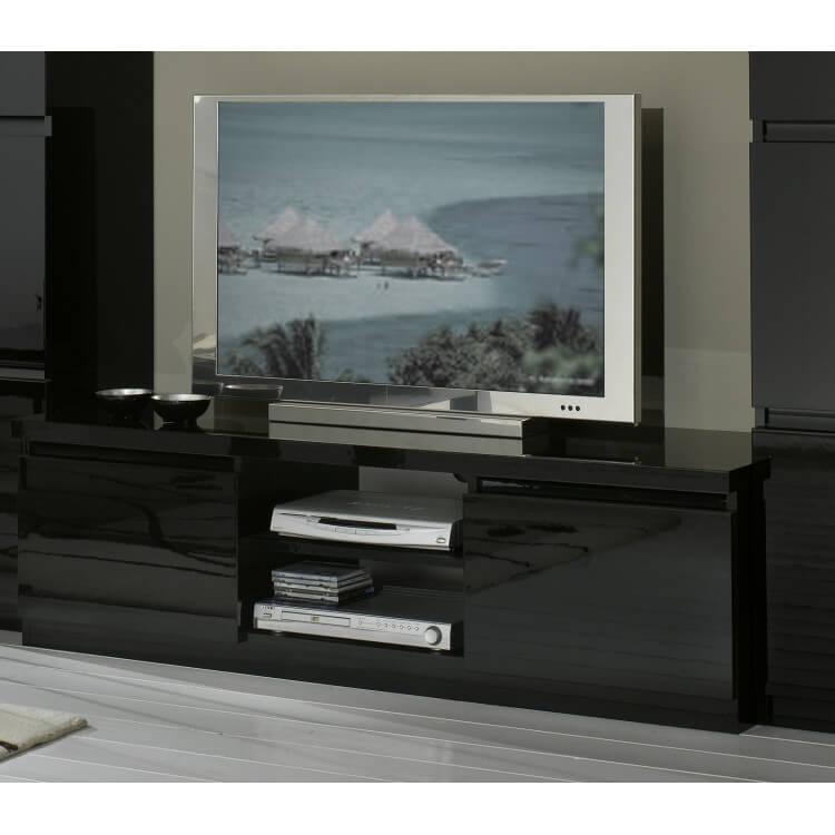 Meuble TV design laqué noir Solene