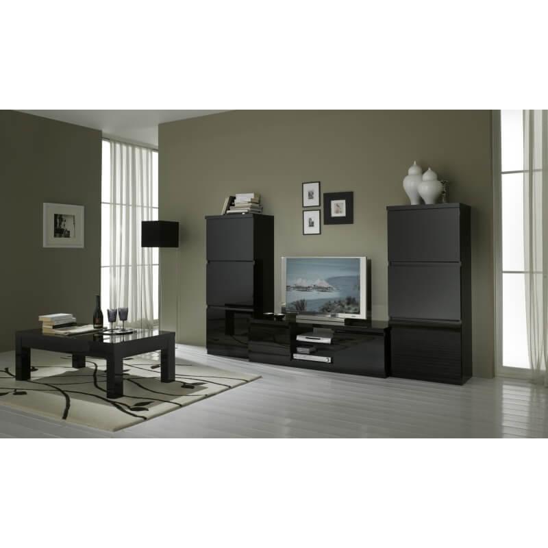 meuble tv design laqu noir solene matelpro. Black Bedroom Furniture Sets. Home Design Ideas