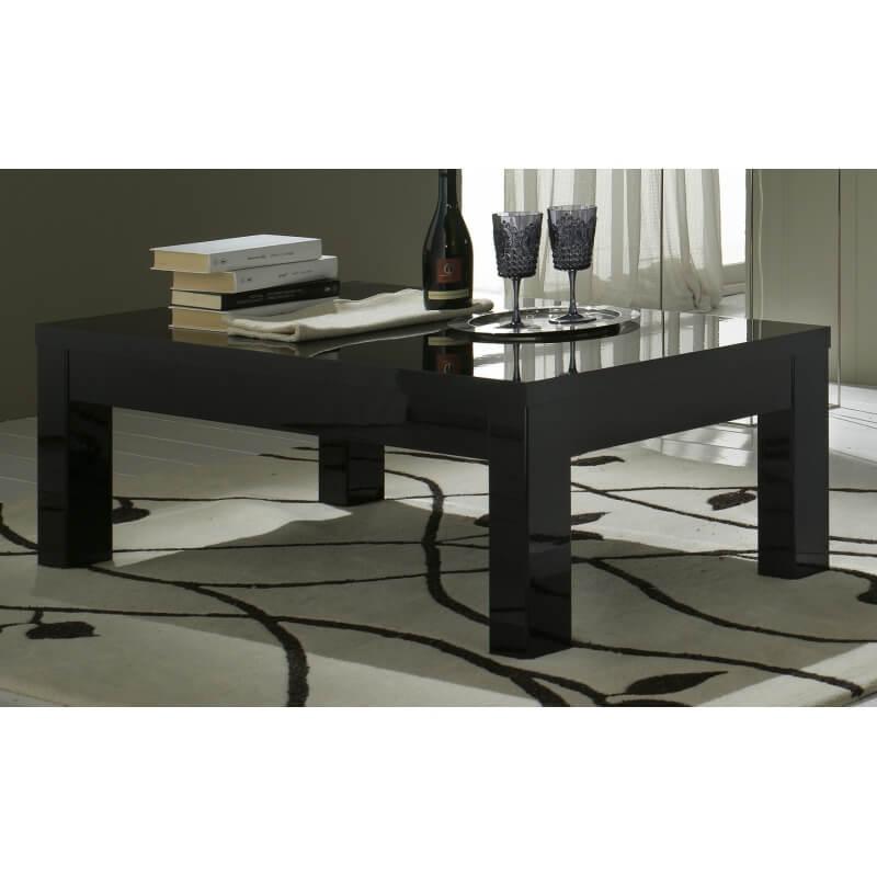 Table basse rectangulaire design laqu e noire solene - Table basse laquee noire ...