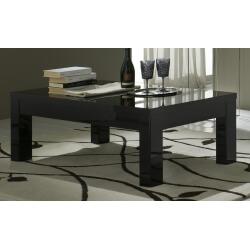 Table basse carrée design laquée noire Solene