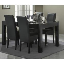 Table de salle à manger design laquée noire Solene