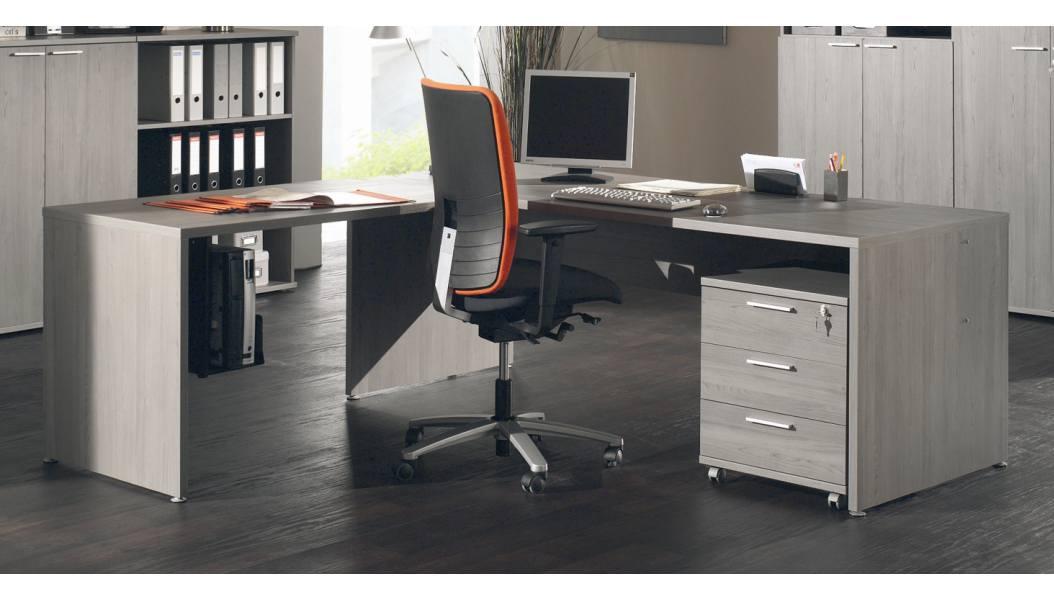 Bureau d'angle contemporain coloris bouleau gris Alrun II