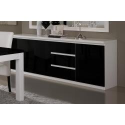 Buffet/bahut design 3 portes/3 tiroirs laqué blanc et noir Loana