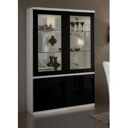 Vitrine 2 portes design laquée blanche et noire Loana