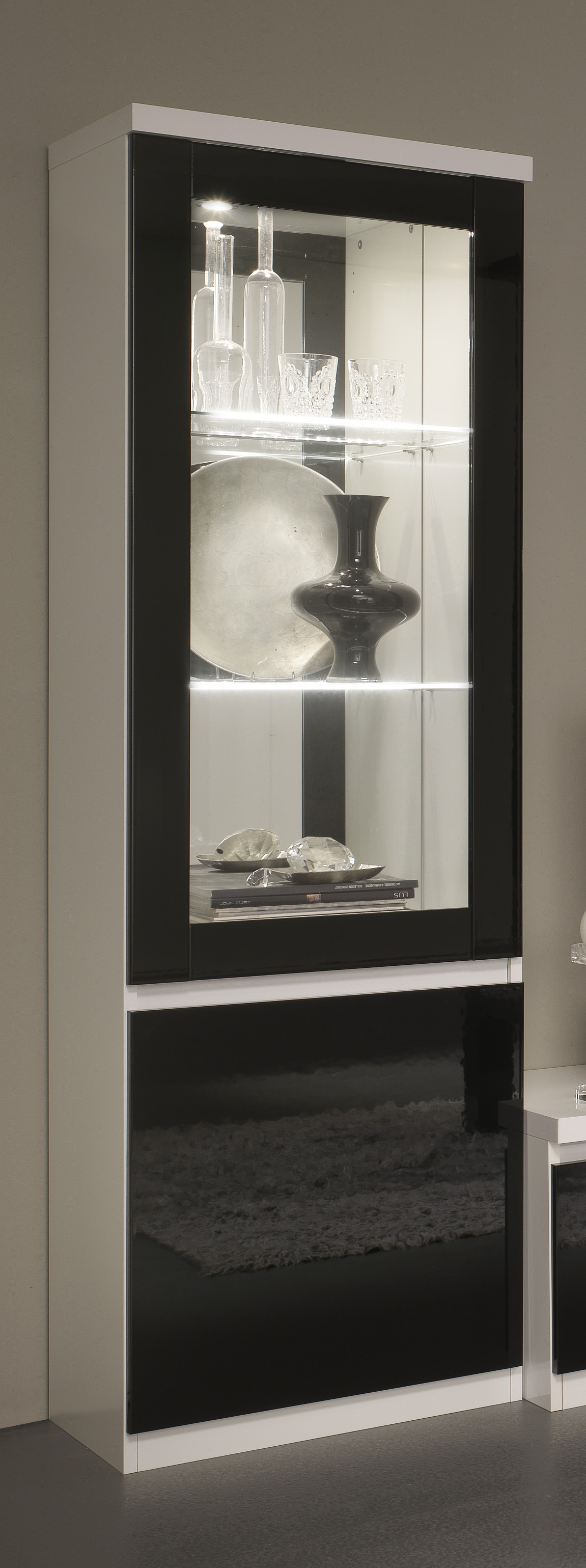 Vitrine 1 porte design laquée blanche et noire Loana