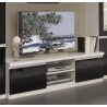 Meuble TV design laqué blanc et noir Loana