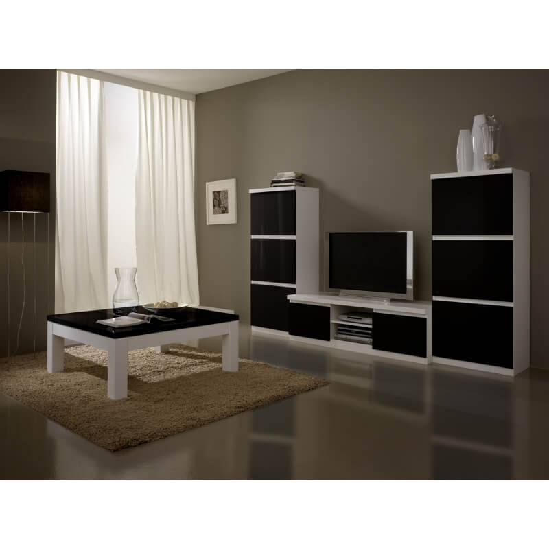 meuble tv design laqu blanc et noir loana matelpro. Black Bedroom Furniture Sets. Home Design Ideas