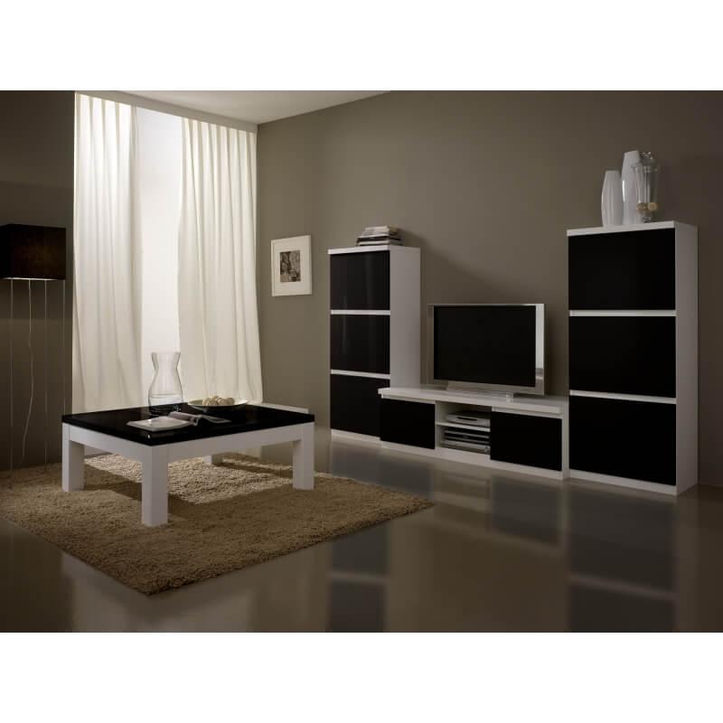 Meuble tv design laqu blanc et noir loana matelpro - Meuble noir et blanc laque ...