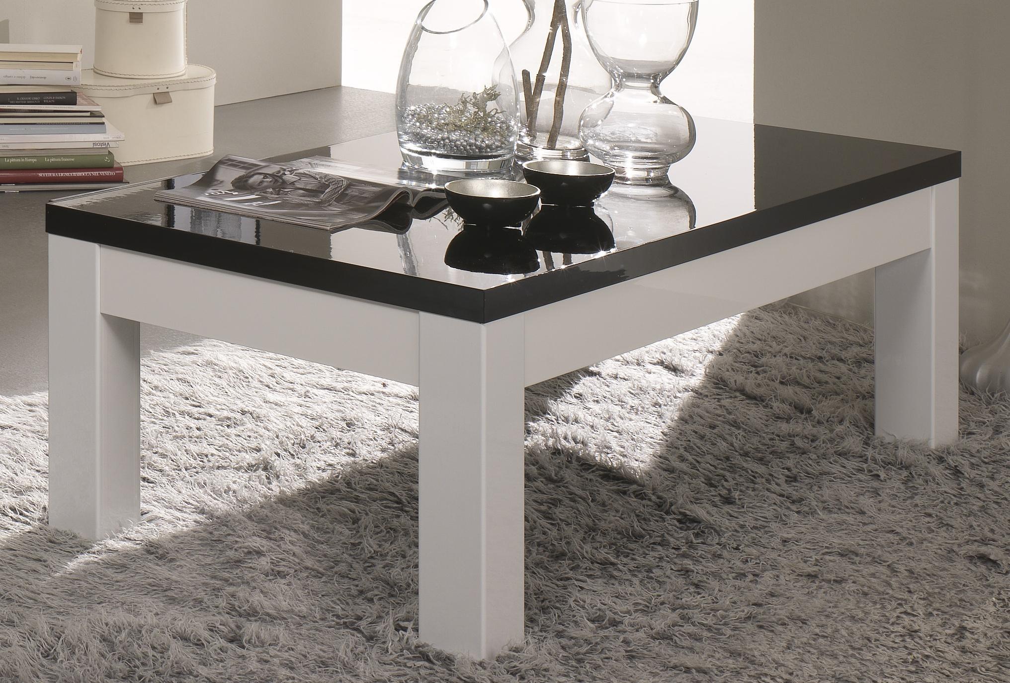Table basse rectangulaire design laquée blanche et noire Loana