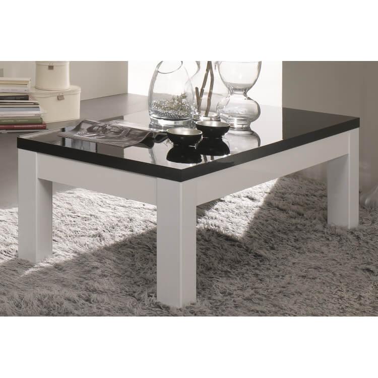 Table basse carrée design laquée blanche et noire Loana