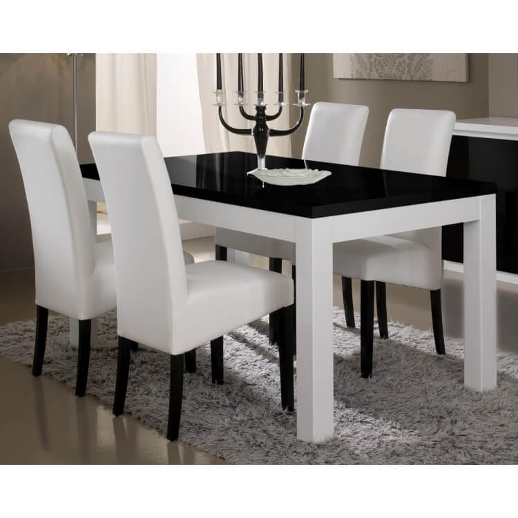 Table de salle à manger design laquée blanche et noire Loana