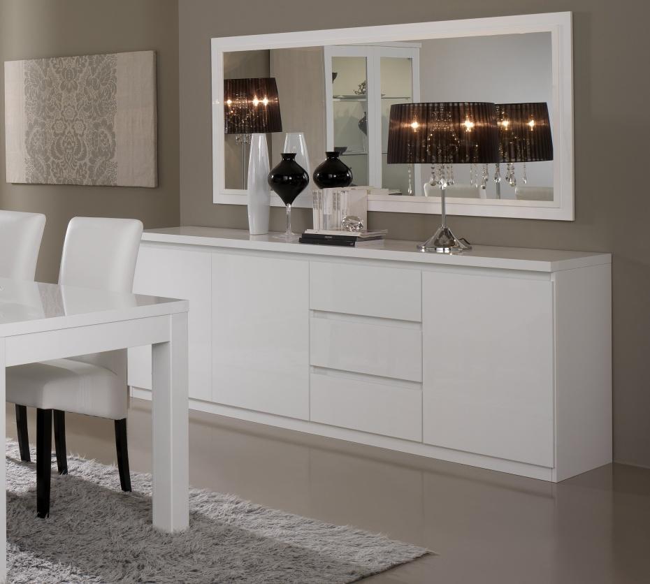 Miroir de salle à manger design 140 cm laqué blanc Cristal