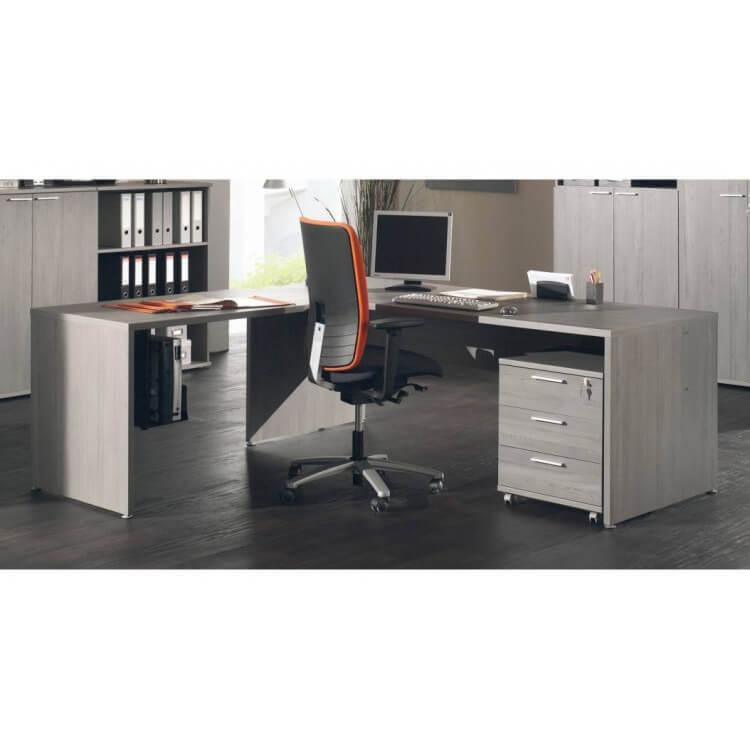 Bureau d'angle contemporain coloris bouleau gris Alrun III