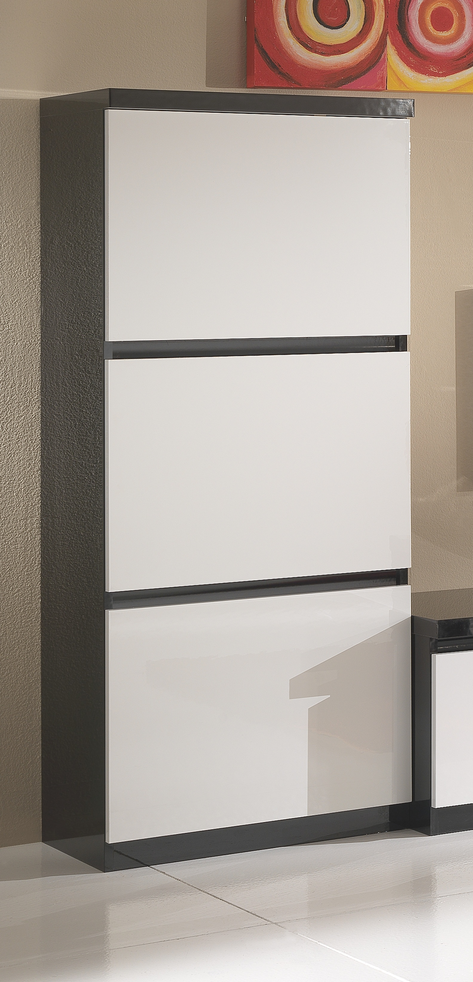 Colonne 1 porte design laquée noire et blanche Krista