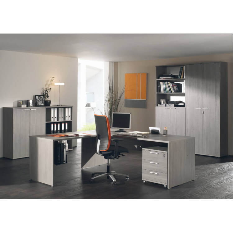 Ensemble de bureau contemporain coloris bouleau gris Alrun
