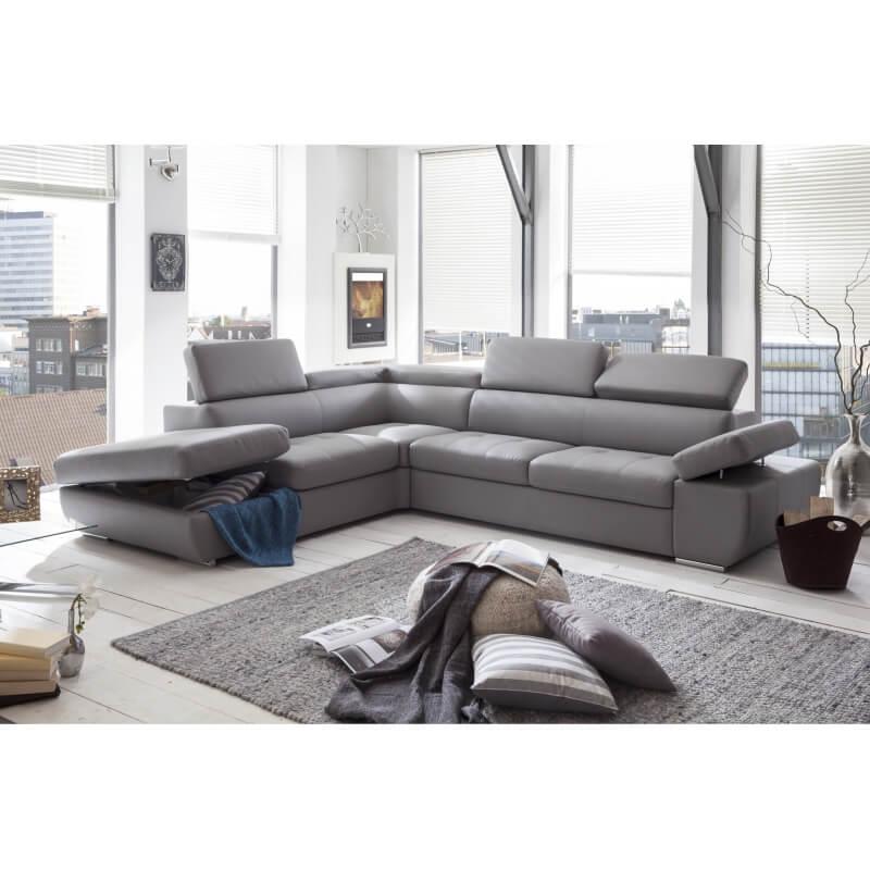 canap d 39 angle design en pu gris clair marocco matelpro. Black Bedroom Furniture Sets. Home Design Ideas