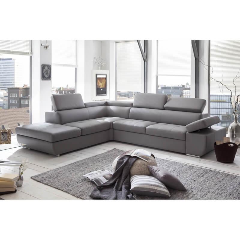 Canap d 39 angle design en pu gris clair marocco matelpro - Canape d angle gris clair ...