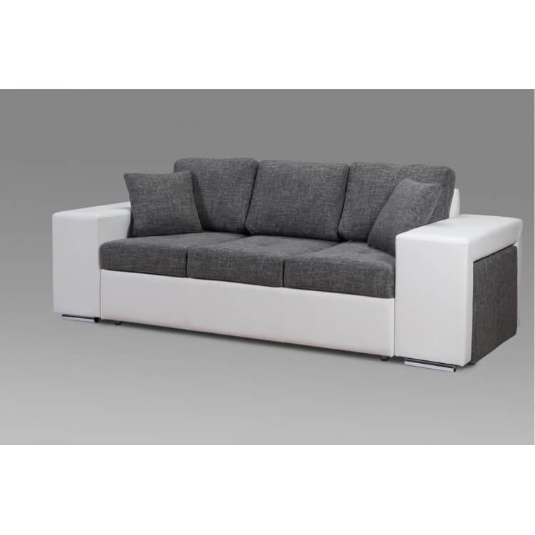 Canapé design 3 places en tissu gris Perrine