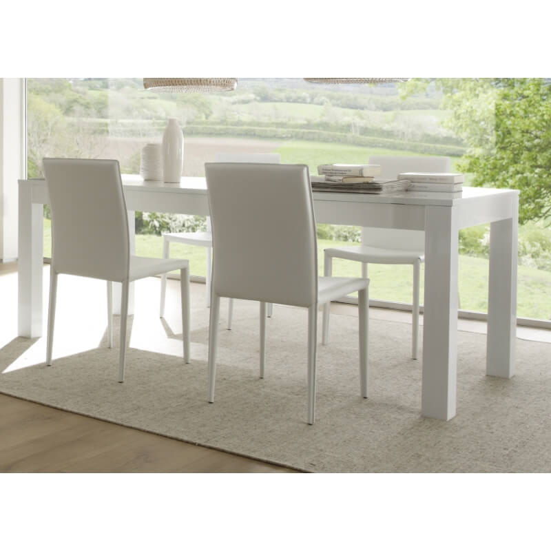 table de salle manger laqu e blanche simba matelpro. Black Bedroom Furniture Sets. Home Design Ideas