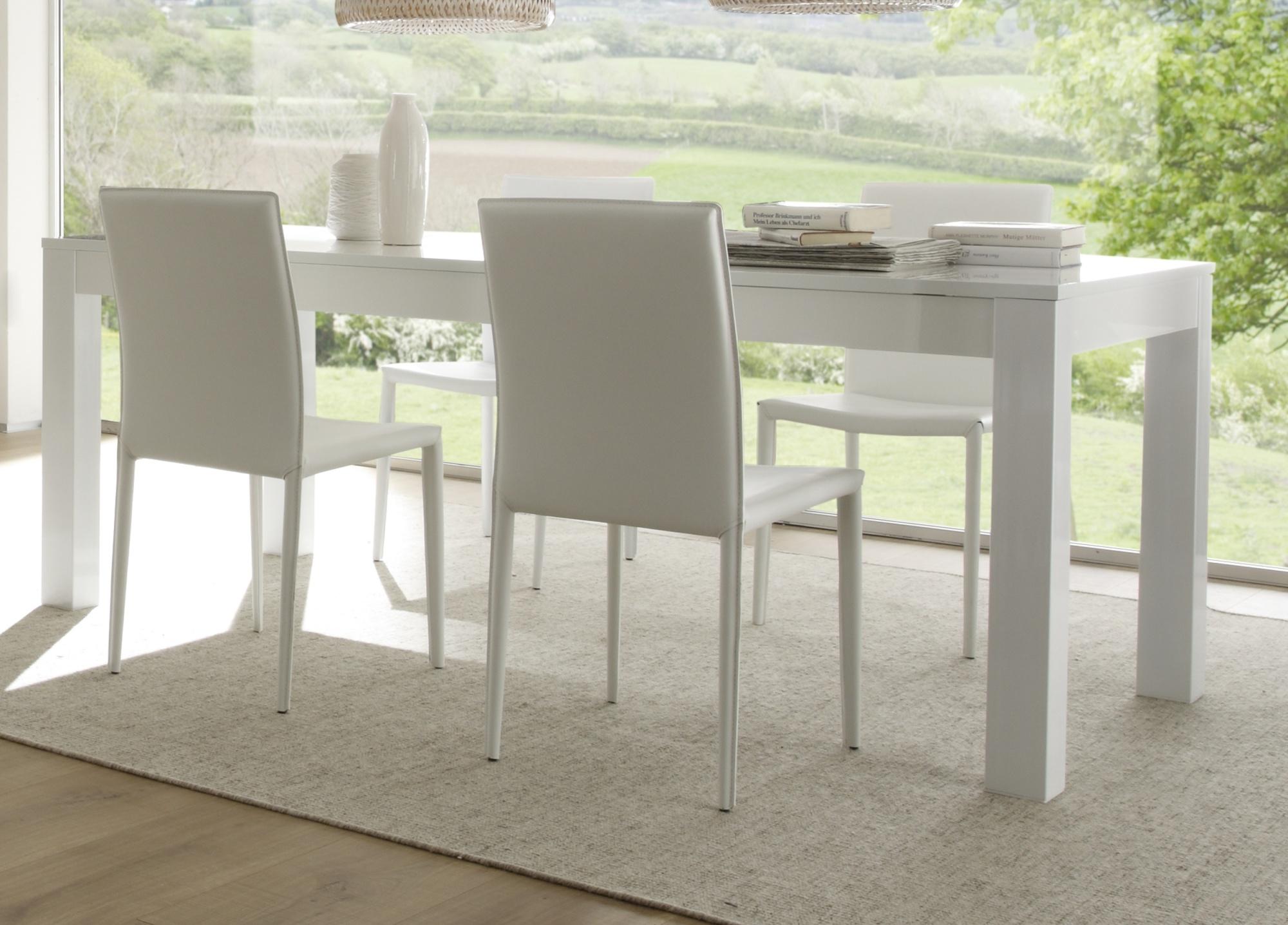 Table de salle à manger laquée blanche Simba   Matelpro