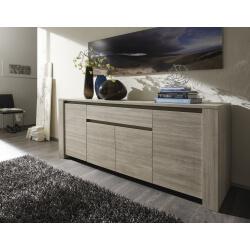 Buffet/bahut contemporain 4 portes/1 tiroir chêne gris Jessica II