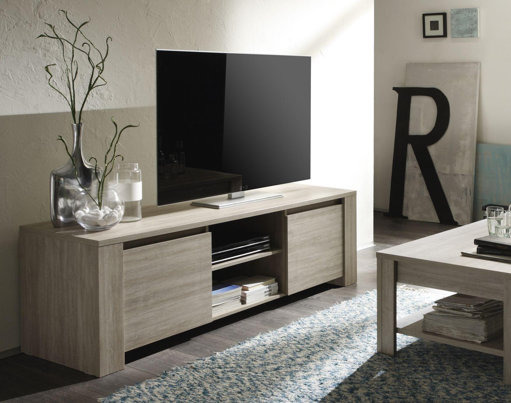 Meuble TV contemporain 181 cm chêne gris Jessica II