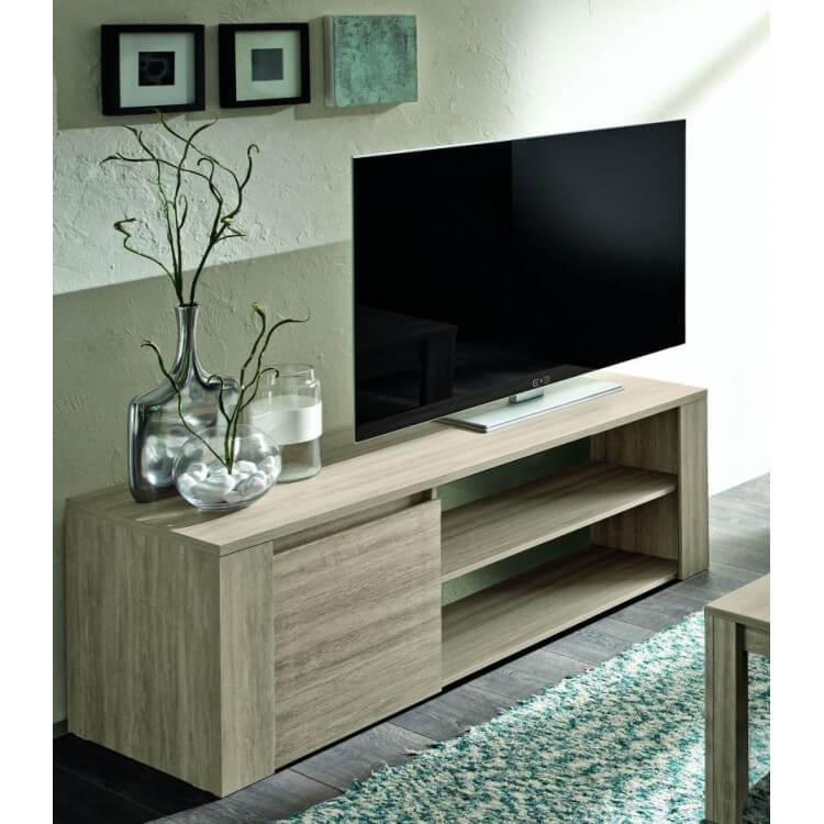 Meuble TV contemporain 130 cm chêne gris Jessica II