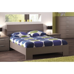 Lit adulte contemporain coloris basalte gris Ines